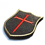 CAMTOA 3D PVC Embroidery Patch Velcro Cross Crusader Tactical Badge Shield Morale Seal for Clothing Decoration