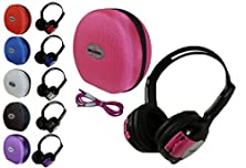 buy 1 Kid Sized Wireless Infrared Universal Car Dvd Ir Automotive Colored Adjustable 2 Channel Headphones With Case And 3.5Mm Auxiliary Cord Color: Pink, Model: , Electronic Store & More
