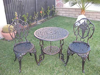 Outdoor Cast Aluminum Petio Furniture 3 Piece Bisto Set, F1060 Bronze