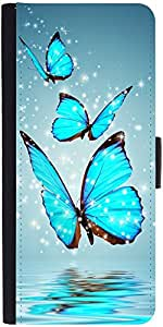 Snoogg Blue Butterfly Digital Designer Protective Phone Flip Case Cover For Coolpad Note 3 Lite