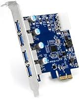 CSL - Carte contrôleur PCI-Express 1x vers 4 ports USB 3.0 (Super Speed) | carte interface USB 3.0 | nouveau modèle / nouveau pilote| HUB USB interne