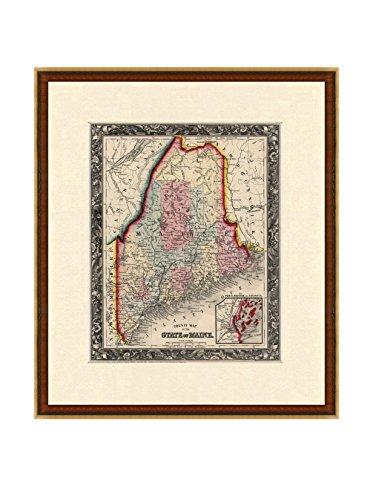 Antique Map of Maine, 1860
