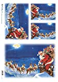 Accademia del Decoupage 32 x 45 cm Rice Paper, Santa Claus with Reindeer