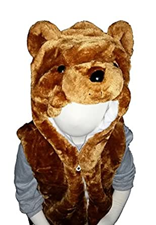 Fashion Vest with Animal Hoodie for Kids - Dress Up Costume - Teddy Bear / Brown Bear