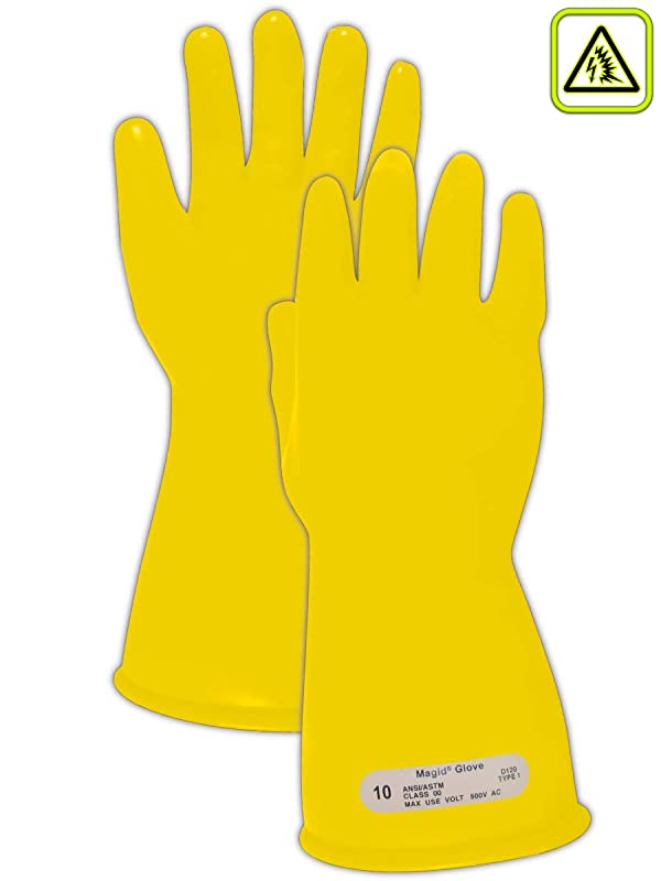 Magid Glove & Safety M-00-11-Y-10 Magid Class 00 Electrical Gloves, Capacity, Volume, Rubber, 10, Yellow (Color: Yellow, Tamaño: 10)