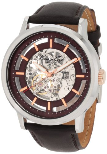 Kenneth Cole Men's Automatic Watch with Brown Dial Analogue Display and Black Leather Strap KC1718