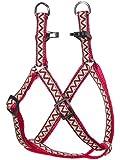 "Navajo Nylon Dog Harness, Step In Harness by Kakadu Pet, Small, 1/2"" x 16-24"", Red"