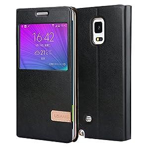 Galaxy Note Edge Case, USAMS & Kollea [Muge Series] Big Window View Flip Case Premium PU Leather W Self Stand Folio Case Protective Cover for Samsung Galaxy Note Edge SM-N915S 2015 Model(A-Black)