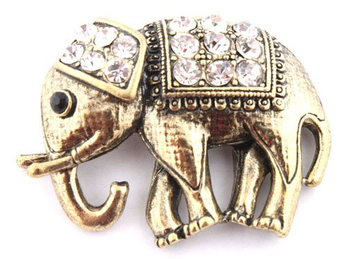 Ladies Gold with Clear Iced Out Elephant Style Safety Pin Brooch & Pin Pendant