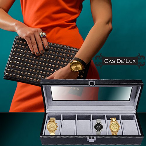 Luxury-Watch-Box-6-Velvet-Pillow-Slots-Premium-Display-Case-With-Framed-Glass-Lid-Elegant-Contrast-Stitching-Sturdy-Secure-Lock-By-Cas-De-Lux