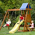 Plum Indri� Wooden Climbing Frame Outdoor Play Centre with Double Swing, Slide and Picnic Table