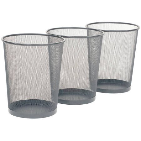 Seville Classics 3-Pack Mesh Wastebaskets, Silver, Metal (Running Horses Tin Waste Basket compare prices)
