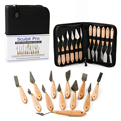 Palette Painting Knife Set- 12 Stainless Steel Art Palette Knives with Carrying Case