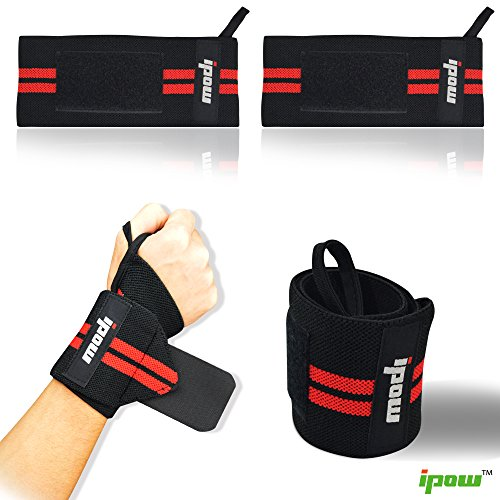 (Set of 2) Ipow Adjustable Weight Lifting Training Wrist Straps Support Braces Wraps Belt Protector for Weightlifting Crossfit Powerlifting Bodybuilding – For Women & Men