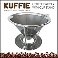 KUFFIE Stainless Steel Coffee Filter - Permanent, Reusable and Paperless Pour Over Coffee Dripper Cone (4 Cup Coffee Maker and Brewer)