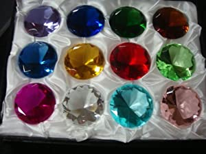 Mother's Day Special: (12) Glass Diamond Paperweight 40mm Birthstone
