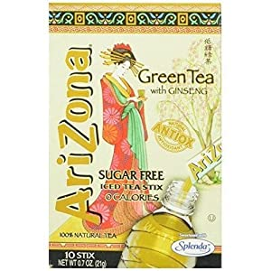 AriZona Green Tea with Ginseng Sugar Free Iced Tea Stix 10 Count (Pack of 6) by Home Comforts