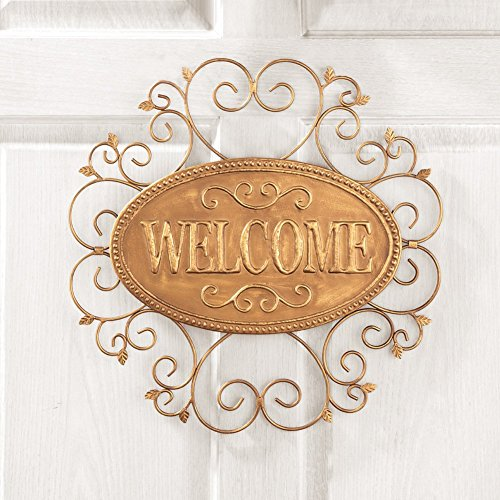 Metal Welcome Sign Door Wreath Decor