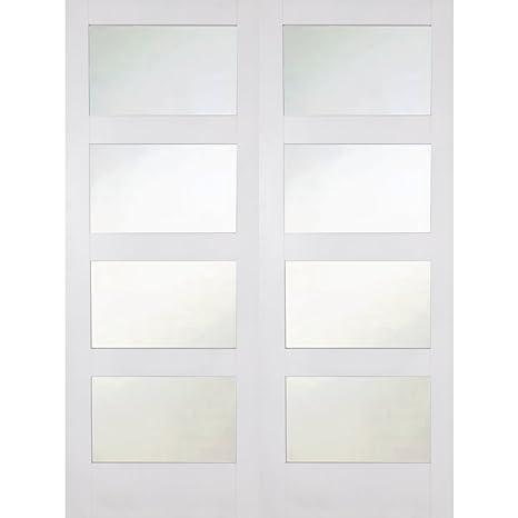"Green Tree Doors White Shaker 4 Light Frosted Internal Door Pair (762mm (30""))"