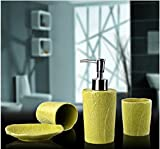 4 Piece Set Ceramic Bathroom Accessory With Yellow Leaf Texture,Luxury Decor,Elegant Designing Bathrooms,Wedding Gifts,Soap Dispenser/Toothbrush Holder/1 Bathroom Tumbler/Soap Dish