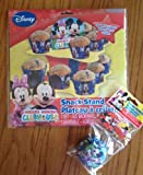 Disney Jr. Mickey Mouse Cluhouse Cupcake/Snack Stand + 18 Mickey Mouse Clubhouse Cupcake Liners W/Bonus Picks! Featuring Mickey & Minnie Mouse