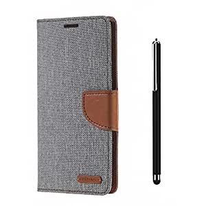 Relax And Shop Quality Flip Cover With Stylus Pen For SONY Xperia L- (Grey Flip+ Colors May Vary In Stylus)