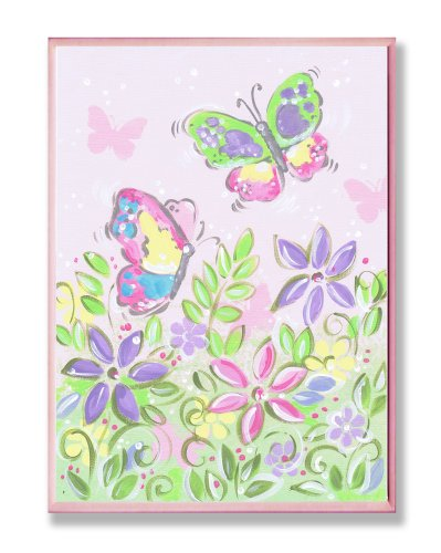 The Kids Room by Stupell Pastel Butterflies and Flowers Rectangle Wall Plaque