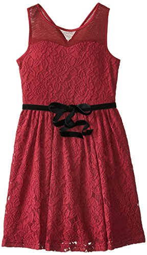 Blush By Us Angels Big Girls' Tank Dress With Illusion Neckline, Burgundy, 12 front-597682