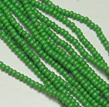 Green Opaque Czech 60 Seed Bead on Loose Strung 6 String Hank Approx 900 Beads