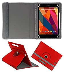 Gadget Decor (TM) PU Leather Rotating 360° Flip Case Cover With Stand For Micromax Funbook Alpha P250 - Red