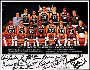 1970 71 World Champion Milwaukee Bucks Team Signed Photo 14 x 11 MLI LOA -... by Sports Memorabilia