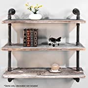 Diwhy Shelves Industrial Shelf with Pipe DIY Retro Wall Mount Iron Pipe Shelf Storage Shelving Bookshelf (36)