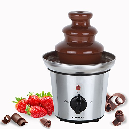 Ovente CFS43S Two-Tier Stainless Steel Party Chocolate Fondue Fountain, 9 inch, Stainless Steel (Fondue Tier compare prices)