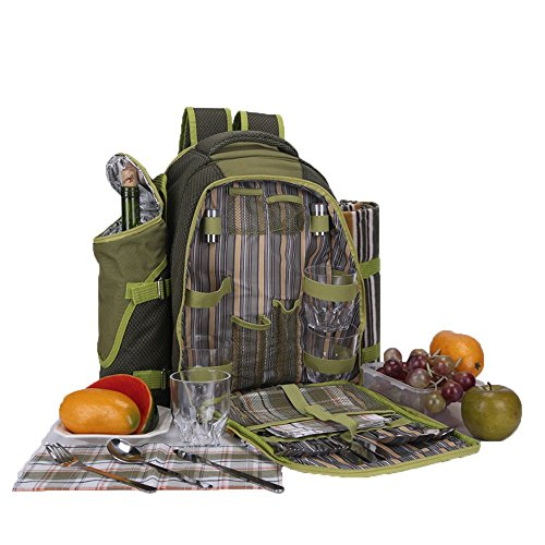 Read About Apollowalker 4 Person Picnic Bag Backpack Cutlery Set for Picnic, Outdoor, Sports, Hiking...
