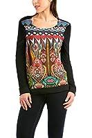 Desigual Adonia - T-shirt - Imprimé - Col rond - Manches longues - Femme