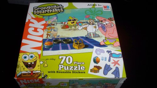 Nickelodeon Spongebob Squarepants 70 Piece Puzzle with Reusable Stickers - On the Beach with Patrick , Sandy , and Squidward - 1