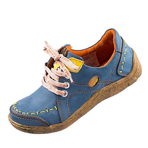 TMA EYES 1646 Halbschuh Gr.36-42 mit bequemen perforiertem Fußbett , Leder , Antikoptik ATMUNGSAKTIV in Antikschwarz und Antikgrün (36, Antikblau)