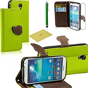 Fulland Wallet Card Holder PU Leather Pouch Flip Leaf Style Case Cover with Stand for Samsung Galaxy S4 IV I9500 Plus Stylus Pen and Screen Protector -Green