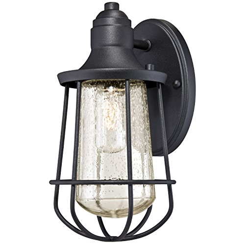 Westinghouse 6202900 Elias 1 Light Industrial Outdoor Wall Lantern, Textured Black (Outdoor Lantern Lights)