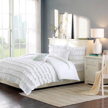 Intelligent Design Waterfall Comforter Set - White - Full/Queen
