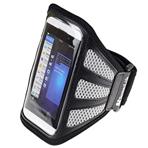 SumacLife Meshy Outdoor Sports GYM Armband Case for Blackberry Z 10 (Grey and Black)