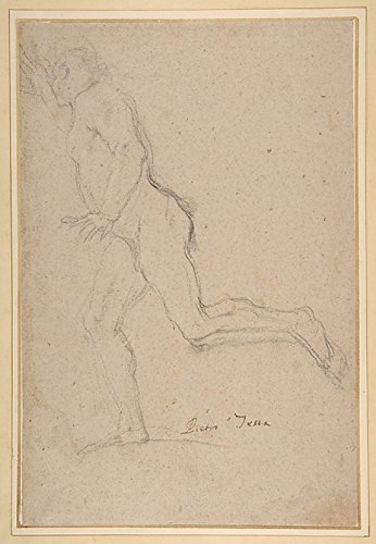 "Nude Youth Running (recto) Standing Draped Old Man with Left Hand Upraised (verso) Poster Print by Pietro Testa (Italian Lucca 1612 ""1650 Rome) (18 x 24)"