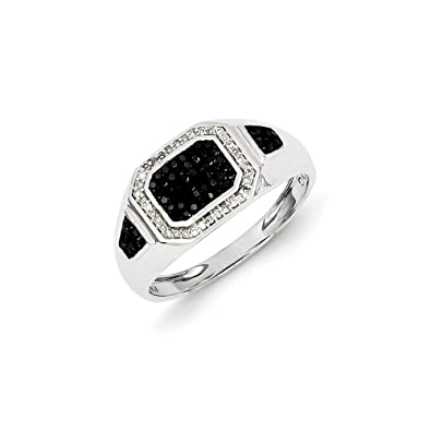 Black Bow Jewellery Company : 1/3 Cttw Black & White Diamond Octagon Tapered Ring in Sterling Silver