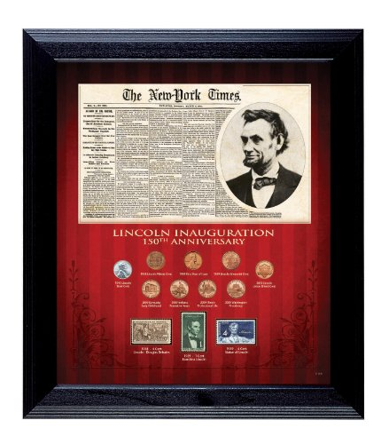 American Coin Treasures New York Times Lincoln Inauguration 150th Anniversary Coin and Stamp Collection Framed