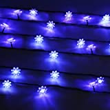 Innoo Tech Blue Outdoor Solar Powered Fairy Lights String 80 LED Double Lotus for Garden Wedding Party Christmas