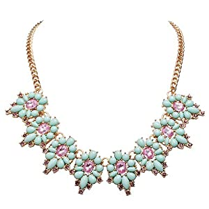 Jane Stone Fashion Personalized Flower Necklace Modern Bloom Crystal Necklace Gold Color Chain Floral Statement Necklace Wedding Necklaces for Bridal(Fn1090)