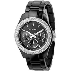 Fossil Women's ES2157 Black Resin Bracelet Black Glitz Analog Dial Multifunction Watch