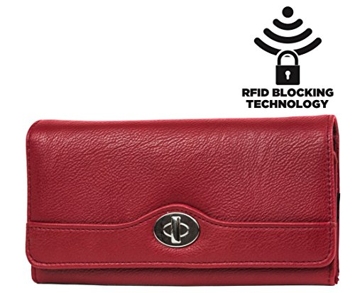 MUNDI Womens RFID Blocking File Master Wallet Clutch Organizer (New): Pebble Pattern - Red (Extra Large Ring Guard compare prices)