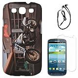 DMG Night Glow Hard Back Cover Case For Samsung Galaxy S3 Neo GT-I9300I (Bike) + Black Earphones + Matte Screen...