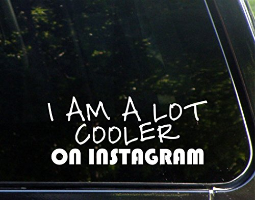 "I Am A Lot Cooler On Instagram - 8 3/4""x 3 3/4"" - Vinyl Die Cut Decal / Bumper Sticker For Windows, Trucks, Cars, Laptops, Macbooks, Etc."
